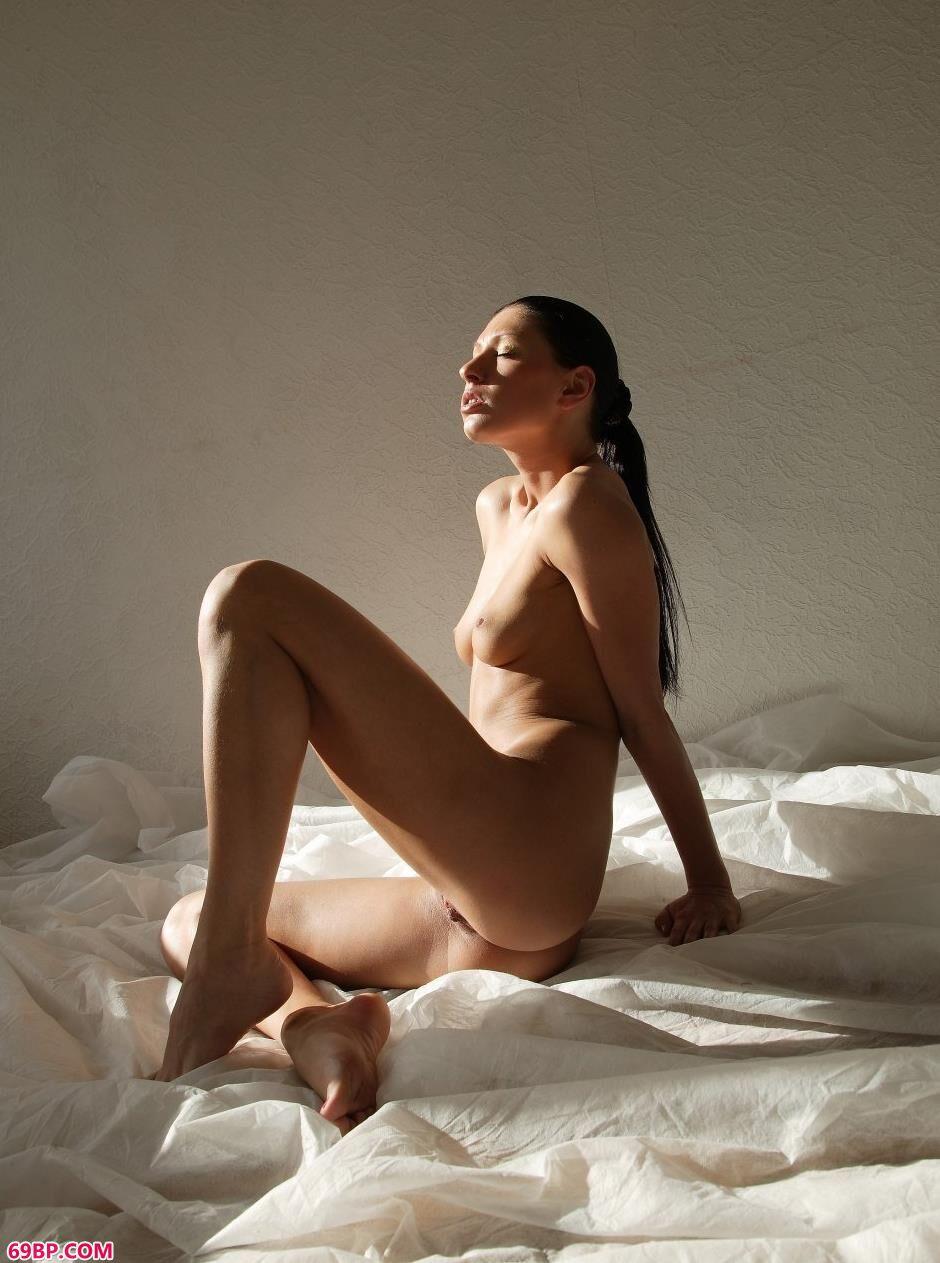 美模埃莱娜纱布上的抚媚人体